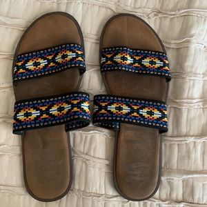Mad Love Aztec print slip on sandals